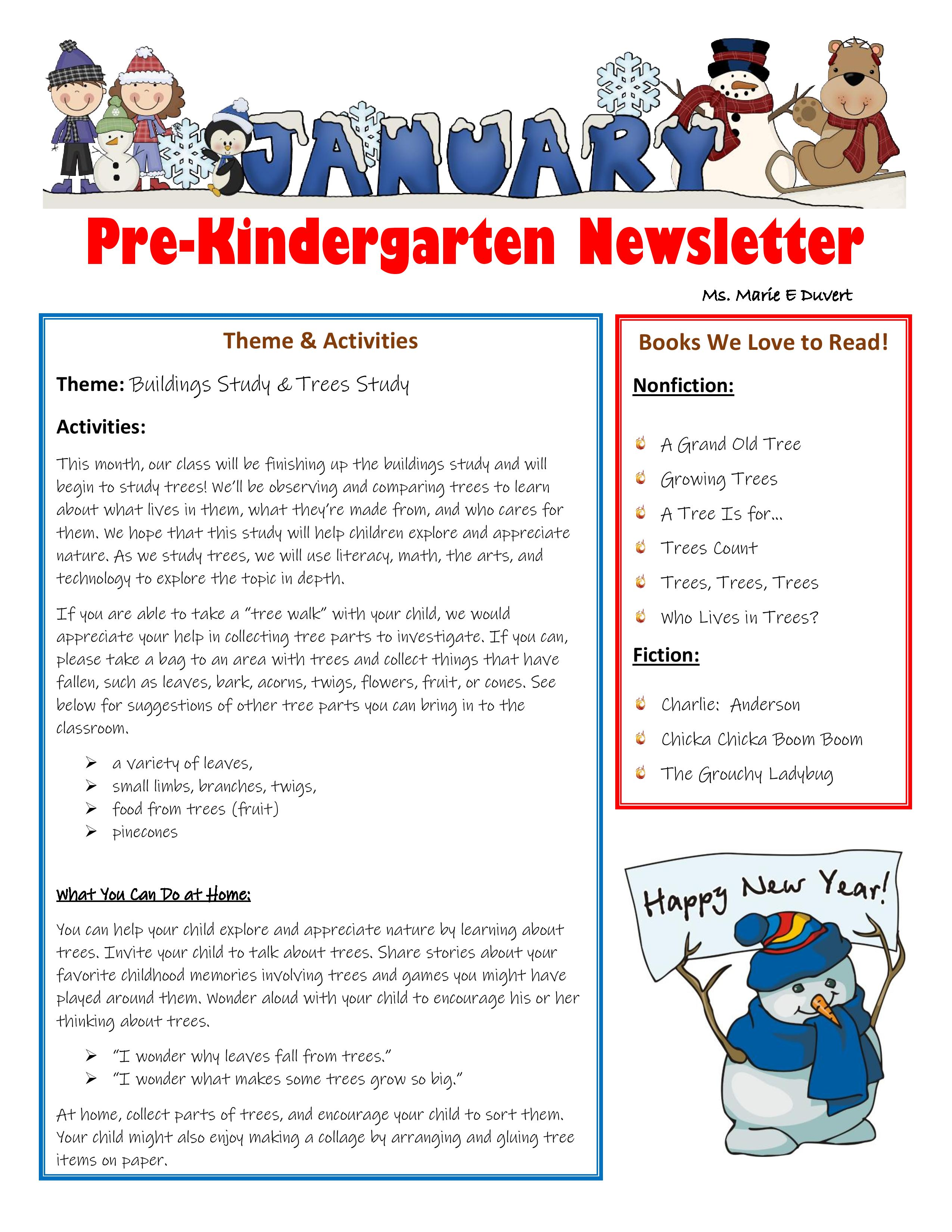 PreK English Newsletter